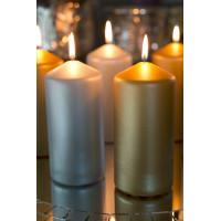Матовые цилиндрические свечи, 150х70мм, золотистые и серебристые, 50 часов горения